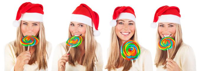 Cute Santa girl with lollipop