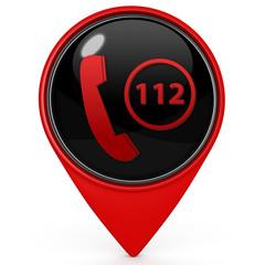 112 pointer icon on white background