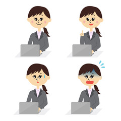 Four pose variations of young female employee with a computer