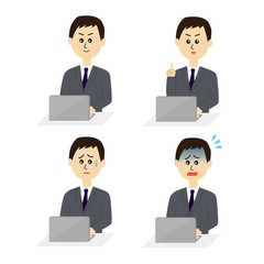 Four pose variations of young male employee with a computer