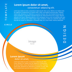 mock-up design template geometric abstract blue yellow