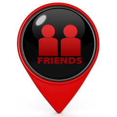 Friends pointer icon on white background