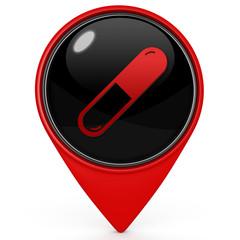 Pill pointer icon on white background