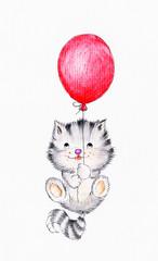 Cute kitten flying on balloon