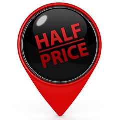 Half price pointer icon on white background