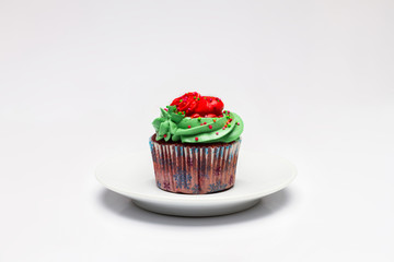 Beautiful Cupcake for Christmas on a plate