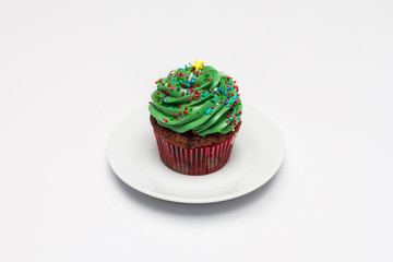Cupcake. The concept of Christmas baking.