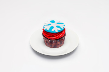 Cupcake. The concept of Christmas baking. Confection