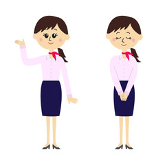 Two pose variations of young woman in a flight attendant outfit