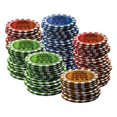 Poker chip many isolated white background
