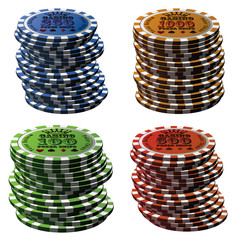 Poker chips column set isolated on white background