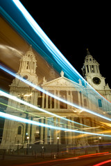 light streaks from bus past St. Paul's Cathedral, London, UK