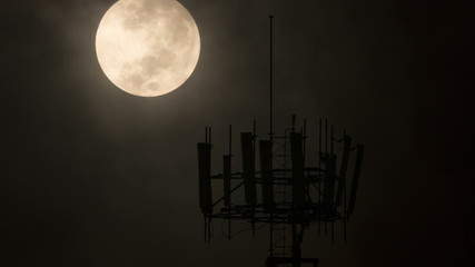 Communications Tower Night Moon Timelapse