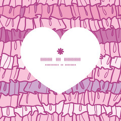 Vector pink ruffle fabric stripes heart silhouette pattern frame