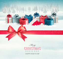 Holiday Christmas background with colorful gift boxes and a red