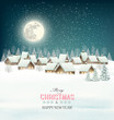 Winter village night background. Vector. - 74562215