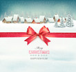 Holiday Christmas background with a village and a red gift ribbo - 74562230