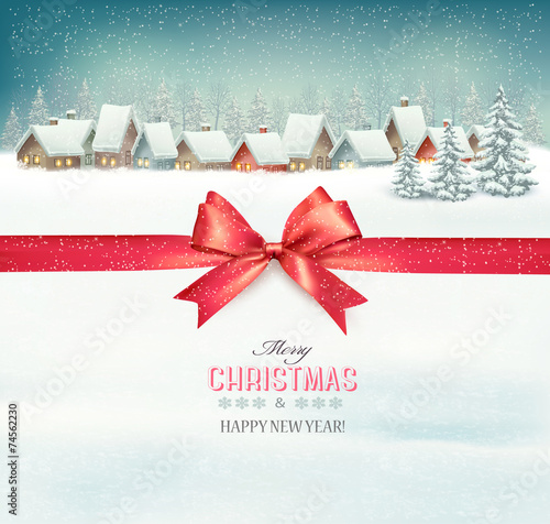 Holiday Christmas background with a village and a red gift ribbo