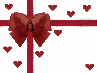red ribbon and bow with hearts valentines day white background
