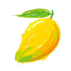 Painting mango. Vector oil color style.