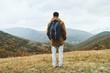 Hiker man enjoying by scenics in autumn season