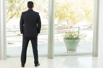Businessman looking outside