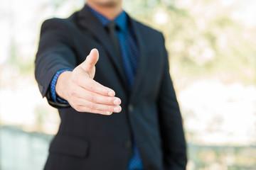 Giving a handshake
