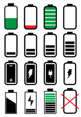 Battery life icons set