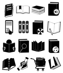 Books library icons set