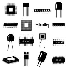 electronic circuit parts icons set