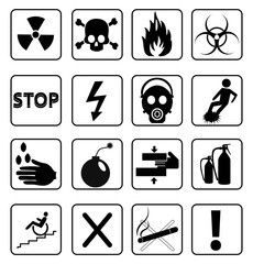 Danger warning icons set