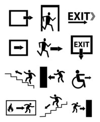 Emergency exit icons set