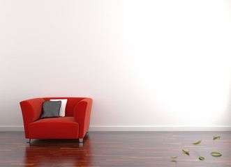 Autumn on interior with armchair, High-resolution 3d rendering