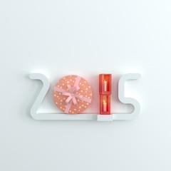 2015 shelf , Happy new year gift box concept