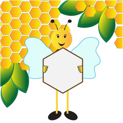 Bee holding sign board background