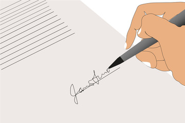 Signing contract background