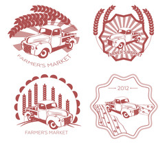 Set of old fashion farming labels, badges and design elements