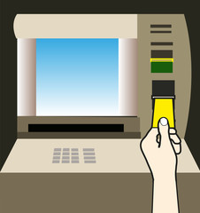 Atm money withdraw background