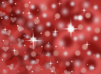 red bokeh valentines background illustration with sparkles