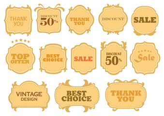 Vintage Labels and signs with Retail Sales Messages