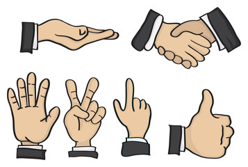 Cartoon Hand Gestures Vector Illustration