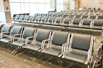 Large empty Seating Area Inside Airport