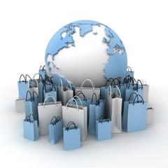 International shopping, blue and white