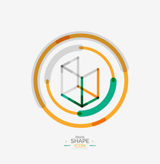 Minimal line design logo, business icon, block