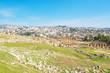 Roman city of Gerasa and the modern Jerash in Jordan