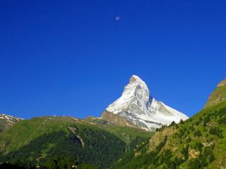 Matterhorn peak in Zermatt Switzerland, green car-free city