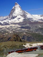 Zermatt Switzerland, green car-free city electric train
