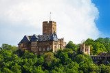 Burg Lahneck view in green forest during summe