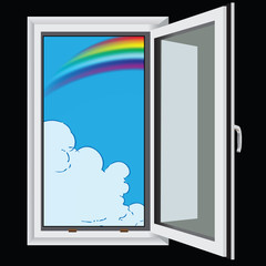 Rainbow and clouds through window