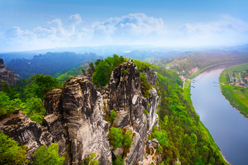 Beautiful view of Bastei rocks, Sachsische Schweiz
